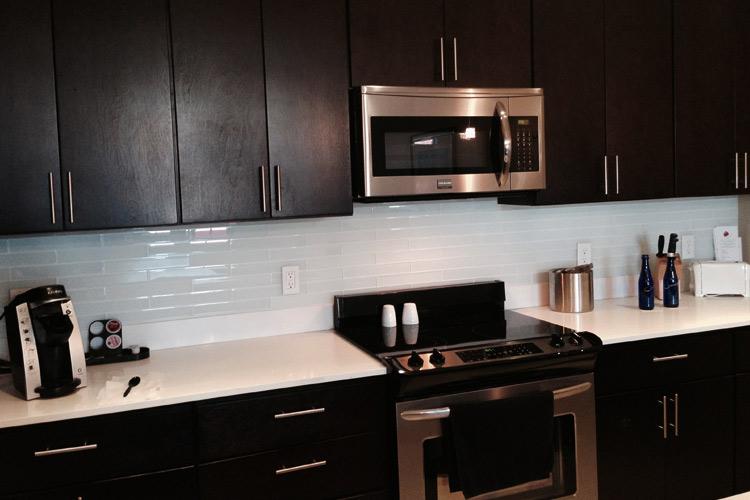 Dark Cabinets White Gl Backsplash Tile